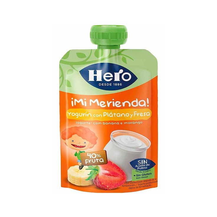 HERO BABY BOLSITA PLATAN/FRESA YOGUR 100 G
