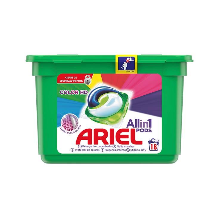 DETERG. ARIEL CAPSULAS 3 EN 1 18 LAV.COLOR