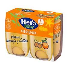 Hero Baby Merienda Naranja, Plátano y Galletas 2 x 190 g