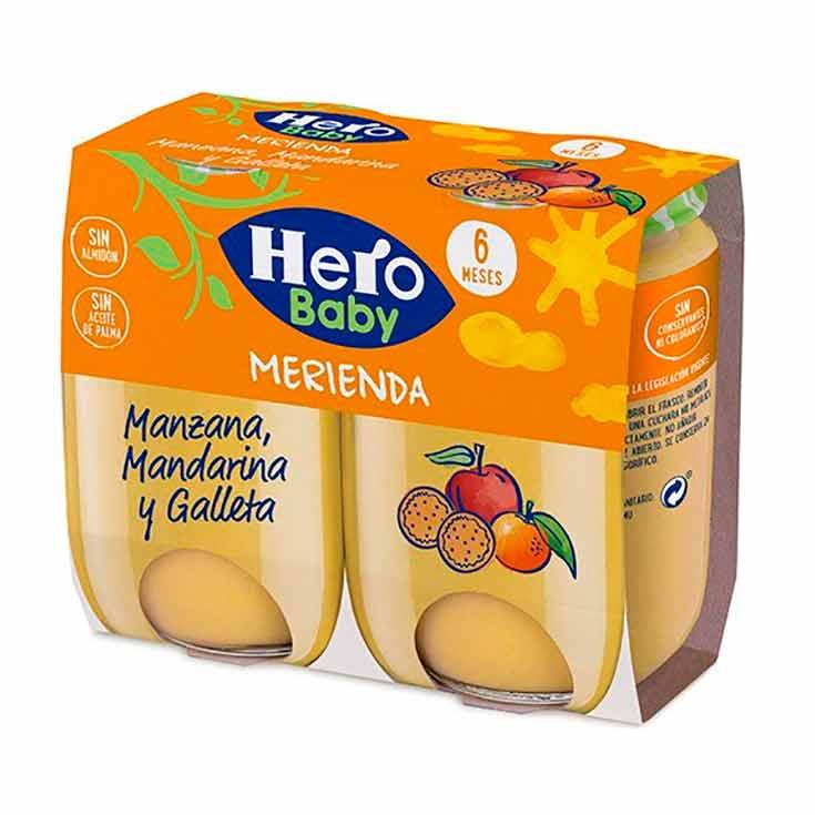Hero Baby Merienda Manzana, Mandarina y Galleta 2 X 190 g