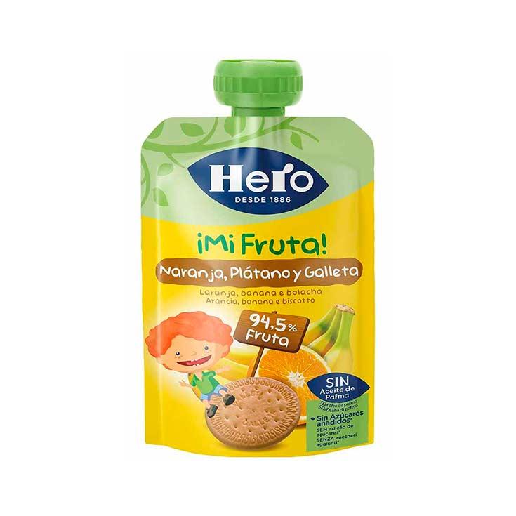 Hero Baby Bolsita ¡Mi fruta! con Naranja, Plátano y Galleta 100 g