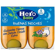 Hero Baby Buenas Noches Tarrito Guisantes Tiernos con Jamón Cocido 2 X 190 g