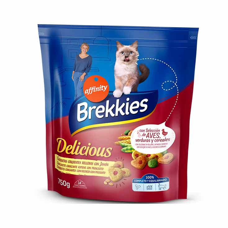 Brekkies-Affinity Cat Delicious Croquetas Crujientes Rellenas con Jamón 750 g