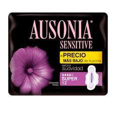 Ausonia Sensitive Super Con Alas Compresas 12 uds