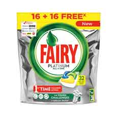 Fairy Platinum Limón Cápsulas Lavavajillas 32 uds
