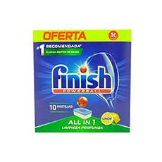 Finish Powerball All in One Limón Limpieza Profunda 10 Pastillas