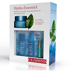 Clarins Hydra Essentiel Cofre Gel Sorbet + Bi-serum + Aceite Labios 3 piezas